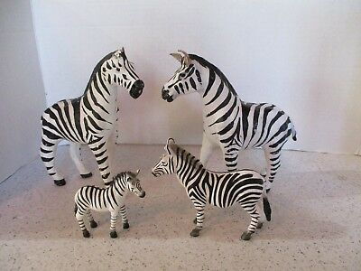 """4 ZEBRA FIGURINES, 2 LEATHER 6.5""""H x 7""""L, HANDCRAFTED & 2 SMALL PLASTIC BY MOJO"""