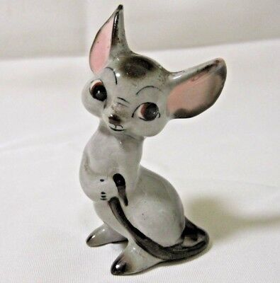"""Vintage Grey Mouse Figurine With Pink Ears 3 1/4"""" Tall Adorable Cute Mice"""