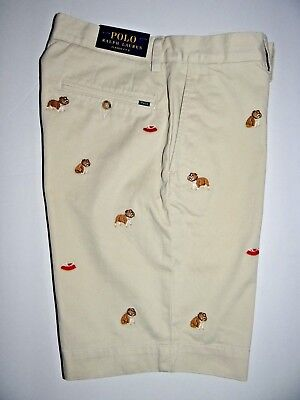 Polo Ralph Lauren Men's Beige Bull dogs Embroidered Classic Fit Shorts