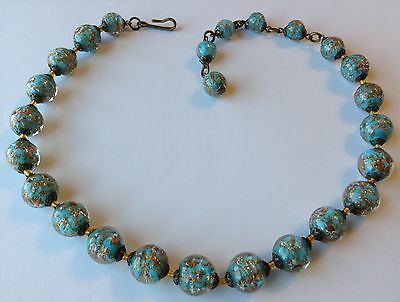 Vintage Murano Venetian Blue Sommerso Aventurine Glass Bead Necklace