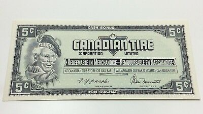 1974 Canadian Tire 5 Five Cents CTC-S4-B-Q-N Uncirculated Money Banknote D197
