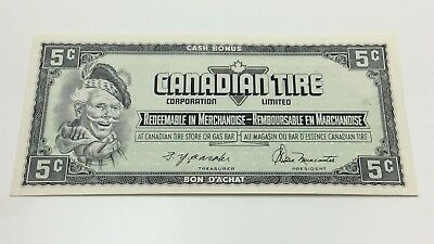 1974 Canadian Tire 5 Five Cents CTC-S4-B-Q-N Uncirculated Money Banknote D198