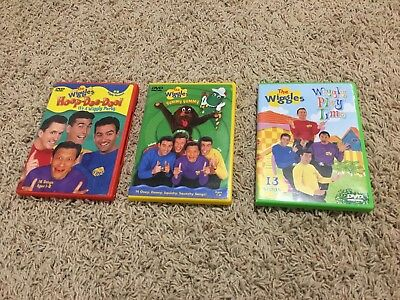 Lot of 3 The Wiggles DVD Hoop-Dee-Doo Yummy Yummy Wiggly Play Time Kids Child
