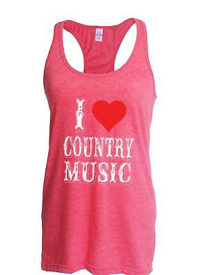 4586ada20d7dc4 I Love Country Music Festival Gift for a Womens Tops Next Level Racerback