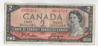 1954 Bank Of Canada $2 Note Canadian Bill Currency Paper Money