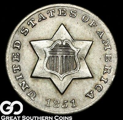 1851-O Three Cent Silver, Key Date New Orleans Issue ** Free Shipping!