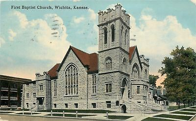 Wichita Kansas~First Baptist Church~Neighborhood Homes~1915 Postcard