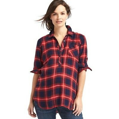 Gap Maternity Red Plaid Convertible Henley Shirt ~ NWT ~ Size Medium M