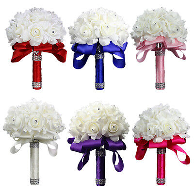 Colourfast Artificial Foam Silk Flowers Bridal Bouquet Bride Wedding Roses Party