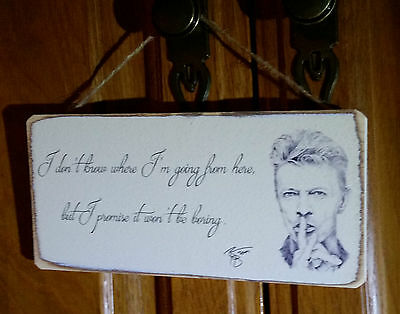 Shabby Chic David Bowie. Picture Plaque, Sign. 100% Solid Wood. Beautiful Gift.