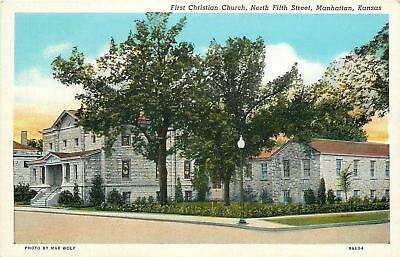 Manhattan KS~Stone First Christian Church & Parsonage on N 5th St~1939 Postcard