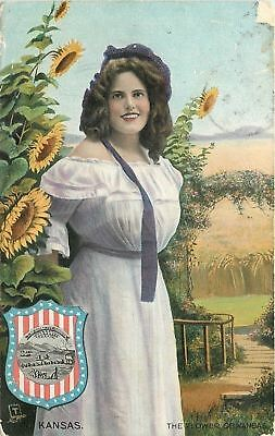 Kansas~Sunflower of Kansas~Woman in White Dress~1910 TUCK State Belle Series