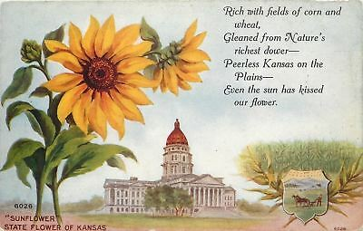 Kansas Greetings~Even the Sun Has Kissed Our Flower Poem~Capitol~Seal 1910