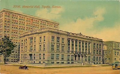 Topeka Kansas~Memorial Hall~Trolley~Vintage Car~1910 Postcard