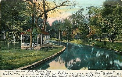 Topeka Kansas~Vinewood Park~Gazebo on Lagoon~1907 Postcard