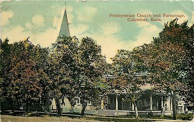 Columbus Kansas~Steeple of Presbyterian Church Pokes Above Trees~Parsonage? 1910