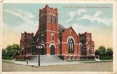 Hutchinson KS Corner Belltower of First United Methodist Episcopal 1920 Postcard