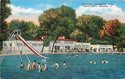 Dodge City Kansas~Slide, Municipal Swimming Pool Fun~Late Summer c1940 Postcard