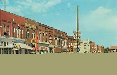 Dodge City~Nice1950s Cars~El Poche Cafe~Bill's Tavern~Santa Fe RR Depot~Postcard