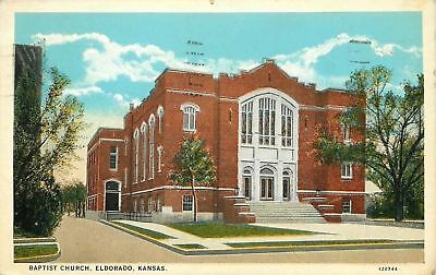 Eldorado KS Big, Bold, Square First Baptist Church @ 315 W Central~1928 Postcard