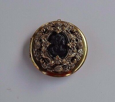 Huge Antique Victorian Black Glass Cameo Gold Plated Brass Locket Pendant