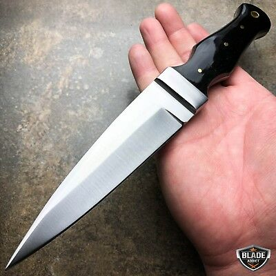 "9"" Full Tang Survival Camping Fixed Blade Hunting Dagger Knife w/ Leather Sheath"