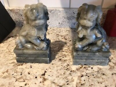 Pair of Soapstone FOO DOGS Lion Bookend Set Gift Asian Chinese Palace Antique