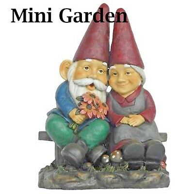 Fairy Garden Gnomes Decor Man And Lady On Bench Gnome Figurine Shipping