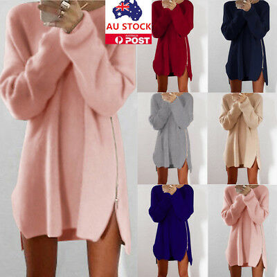 Plus Size Women Long Sleeve Knitted Sweater Side Split Zip Jumper Pullover Tops