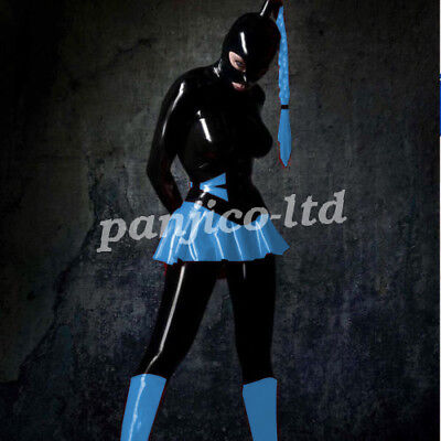 Latex Gummi Rubber Fashion Cool Mysterious Hooded Dress with Lace Size:XXS-XXL