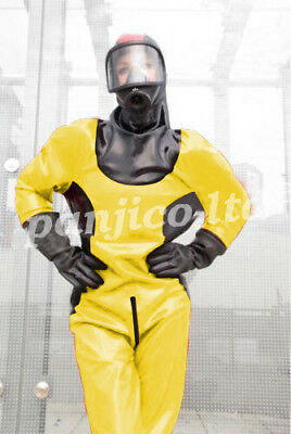 Cool Yellow Astronaut Uniform Latex Gummi Rubber Bodysuit Catsuit Size:XXS-XXL
