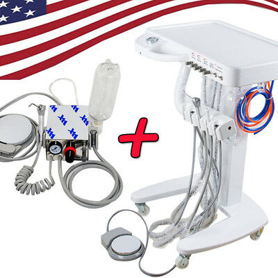 US-Dental Delivery Cart Unit Portable Treatment Chiair+Mini Dental turbine unit