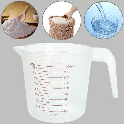 1-20X 1L Plastic Measuring Jug Cup Graduated Surface Cooking Bakery Container