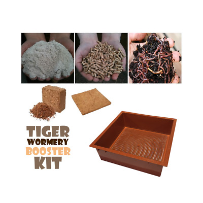 WORMERY BOOSTER KIT with Extra Tray,Worms,Coir Block,Lime Mix,Treats, TERRACOTTA