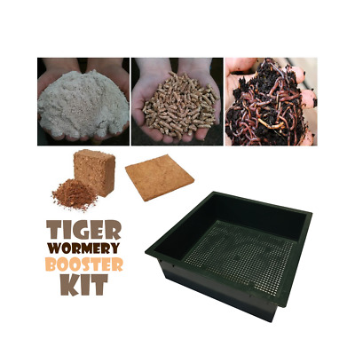 WORMERY BOOSTER KIT with Extra Tray, Worms,Coir Block,Lime Mix,Treats, GREEN New