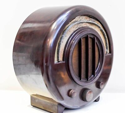 Rare Ekco AD65 Bakelite Round Radio 1934 in amazing original condition