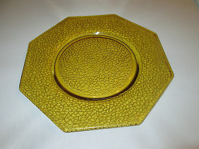 """L E Smith Amber Crackle Glass 8"""" plate Depression 8 sided octagon"""