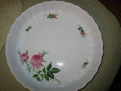 "VTG Christineholm Quiche/TART Pan / Pink Roses / 9.5"" BY 1 1/4""/ FLUTED"