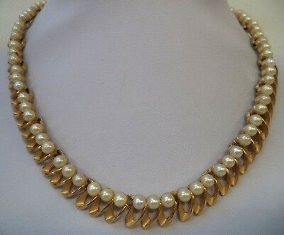 """Stunning Vintage Estate Signed Crown Trifari Faux Pearl 16"""" Necklace!!! 8320E"""