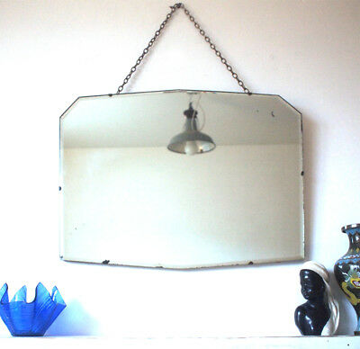 Oval Frameless Antique Art Deco Wall Mirror 1920s 1930s Large Big Bevelled Edge