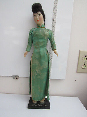 Vintage Vietnamese Doll Made in Viet-Nam On stand