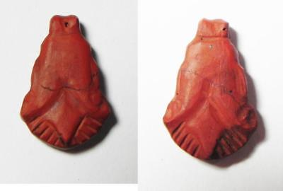 ZURQIEH - as1835- ANCIENT EGYPT, Red Jasper Lotus Flower Amulet, 1400 B.C