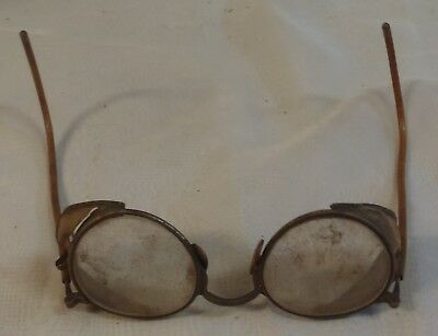 Vintage Antique Old Safety Glasses Round Glass Side Shields