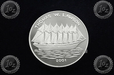 CONGO 1000 FRANCS 2001 (THOMAS W. LAWSON SAILING SHIP) SILVER Comm. coin * PROOF