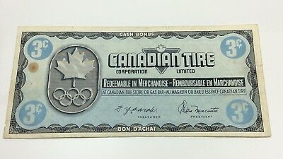 1976 Canadian Tire 3 Three Cents CTC-S5-A Circulated Money Olympic Banknote D208