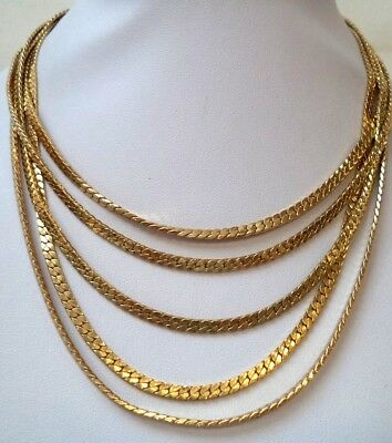 "Stunning Vintage Estate Signed Monet Gold Tone Layered Chain 17"" Necklace! 8323U"
