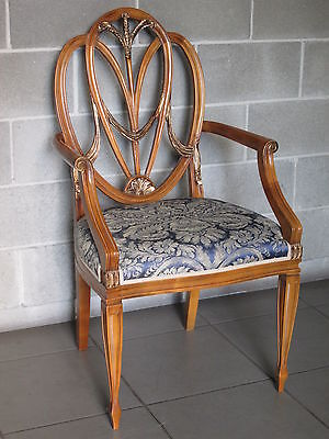 Luxurious Armchair Venetian Wooden Carved With Fabric Blue And Gold Single