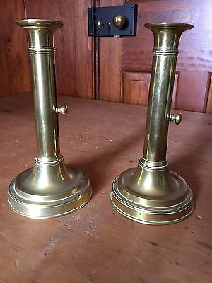 Antique PAIR of 18th /19th Century Brass pushup Candlesticks