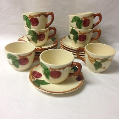 Vintage Franciscan Ware 7 Cups & 9 Saucers Apple Pattern Made In Usa 1940's