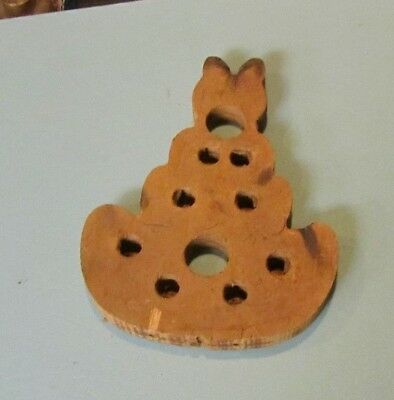 Vintage Primitive Wooden Sitting Cat Art Toy Interior of Metal Crafting Mold